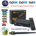 1 ano Europa Servidor cccam DVB-S2 + T2/C Powervu Receptor de Satélite HD 1080 p Espanha Arábica Cccam Cline Freesat V8 Dourado + USB WI-FI