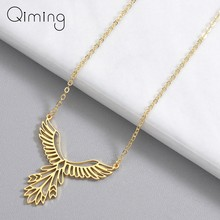 Statement Bird Phoenix Necklace Female Women Stainless Steel Jewelry Origami Phenix Pendant Friendship Necklaces Gift(China)