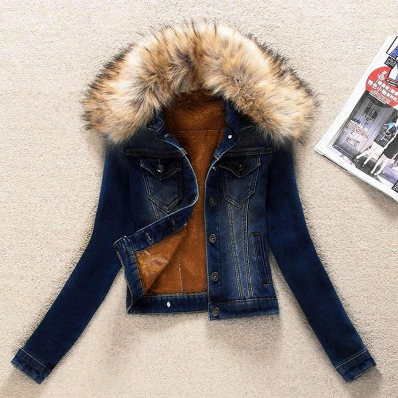 Autumn Winter Denim Jacket Women Clothing Korean Plus Velvet Short Jeans Jacket Outerwear Slim Plus Size Women Basic Coat K896