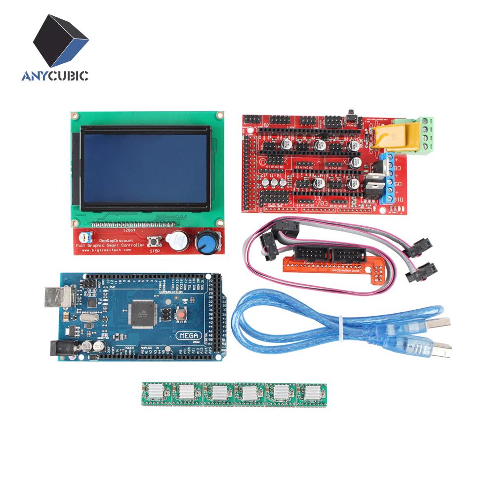 Prix pour 1 pcs Mega 2560 R3 + 1 pcs RAMPES 1.4 Contrôleur + 5 pcs A4988 Stepper Pilote Module + 1 pcs 12864 contrôleur pour 3D Imprimante kit