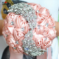 SoAyle Gorgeous Crystal Wedding Bouquet Brooch Peach Wedding Accessories Bridesmaid Artifical Wedding Flowers Bridal Bouquets