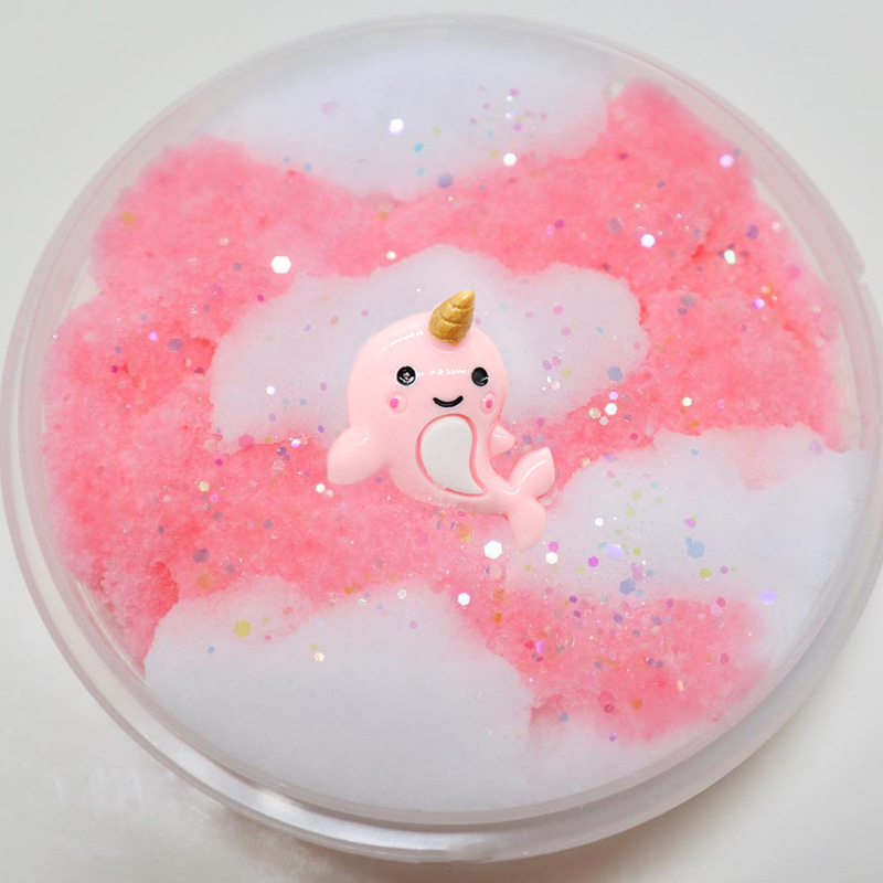Hot  Sale Cartoon Unicorn Cotton Candy Style Modeling Clay Fashion Fluffy Foam Slime Scented Stress Relief No Borax Slime Toys