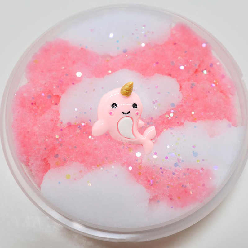 ホット販売漫画ユニコーン綿菓子スタイルモデリング粘土ファッションふわふわ泡スライム香りストレスリリーフなし砂スライムのおもちゃ