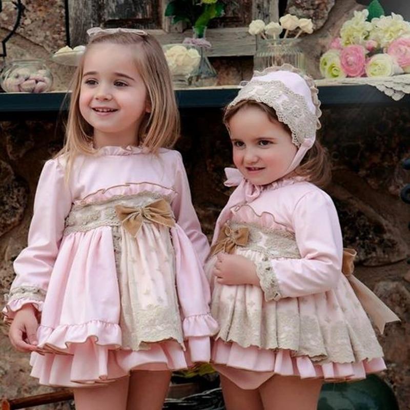 3 pièces espagnol bébé Robe pour filles princesse Brithday robes de fête Fille baptême enfants Robe rose Robe Fille enfants vêtements