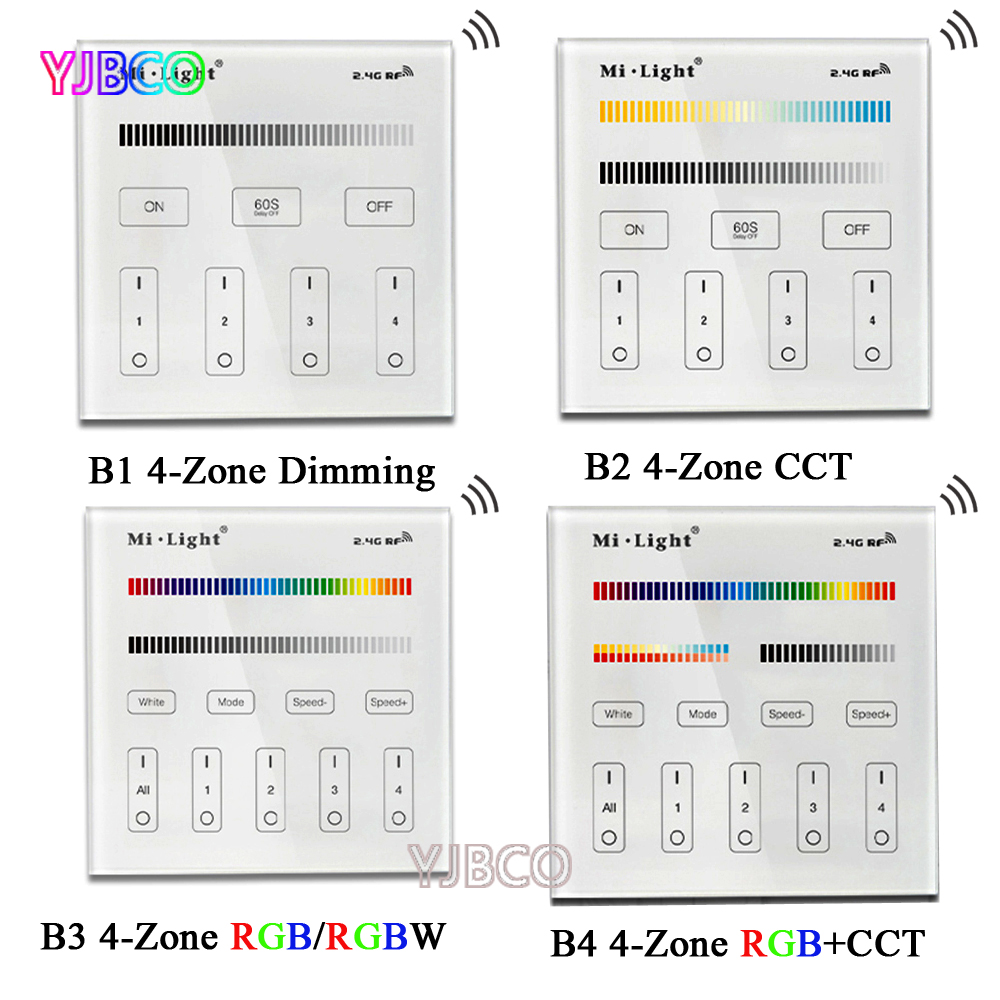 2.4G Mi light B1/B2/B3/B4 4-Zone Smart Touch Panel led Dimmer Controller for RGB/RGBW/CCT Brightness led strip light