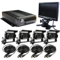 "New 4 CH Car Vehicle DVR Video Recorder 7"" Car LCD Monitor + 4 x 600TVL SONY Camera + SD Up 256G For Truck Van Bus Free Shipping"