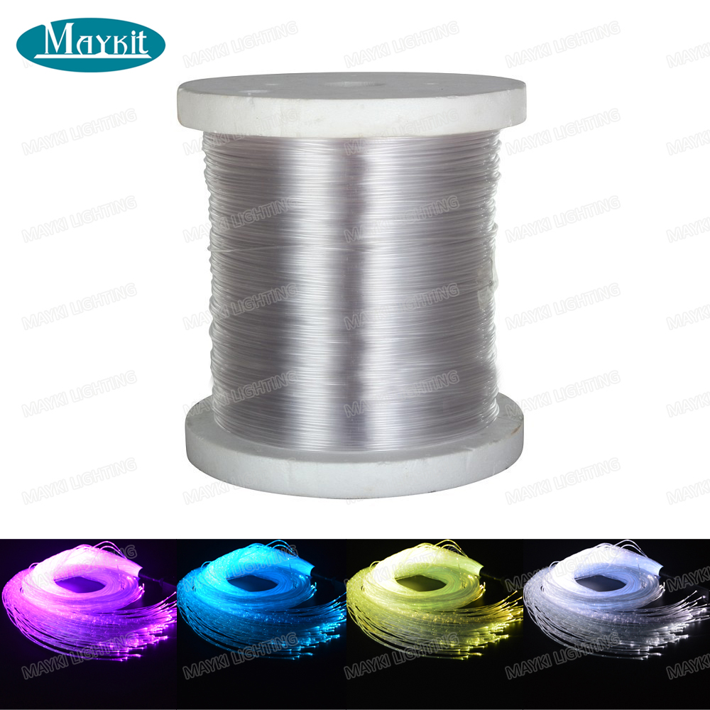Maykit 2700m 0.75mm sparkle fiber optic cable without pvc cover 3cm a point for chandelier curtain decoration