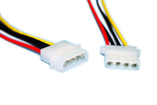 2pcs/lot  D-type Large 4P Power Extension Cable IDE Power Cable IDE Extension Cords One Male And One Female Of 30 C