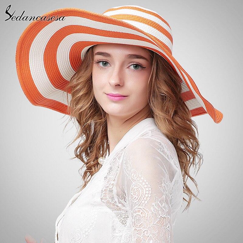 Sedancasesa 2018 Newest Wide Brim Floppy Hat Summer Sun Beach Hats For Women Snapback Stripe Straw Hat Women Sun Hats SW012309