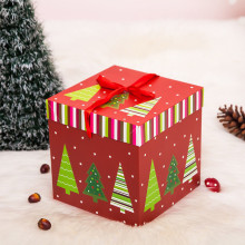 Lovely 1Pcs Square Candy Box Holders Christmas Party Paper Gift Boxes Wrapping Bag Birthday Decor Xmas Decor DIY Present Case