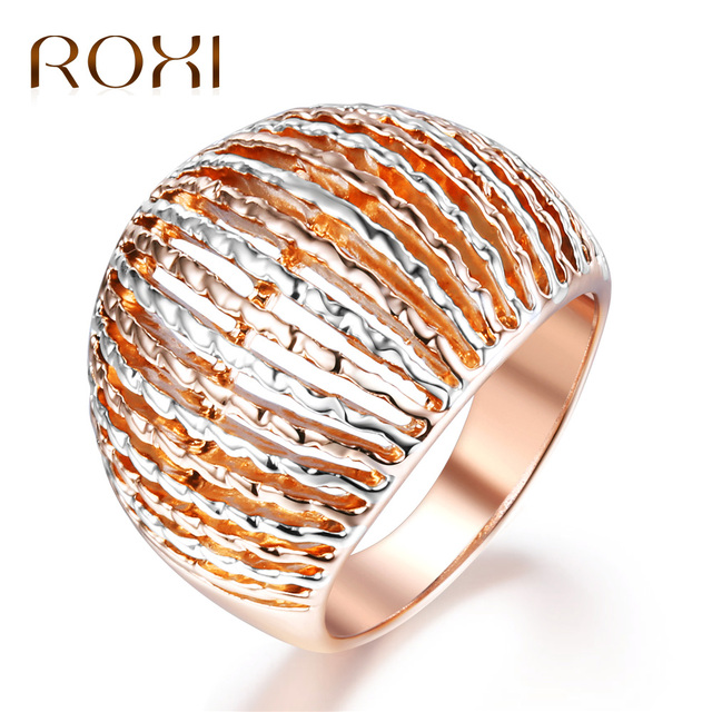 ROXI Fashion Rose Gold Color Wide Rings for Women Cocktail Rings Female Mixed-Color Party Rings Wedding Jewelry bague homme