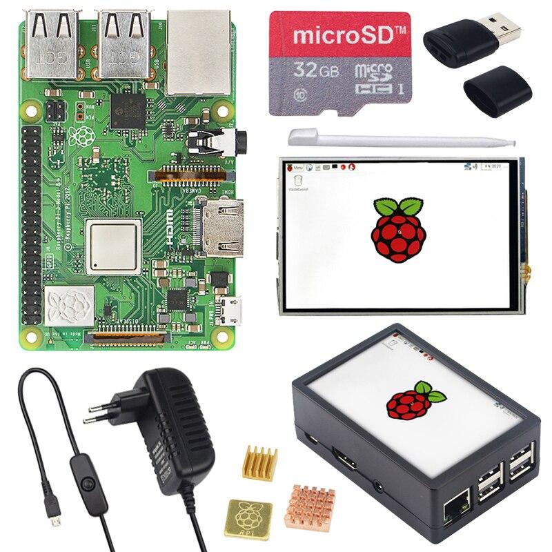 Raspberry Pi 3 Modelo B, modelo B + pantalla táctil de 3,5 pulgadas LCD + ABS + tarjeta SD de 32 GB + 3A adaptador de corriente + disipadores térmicos + HDMI para RPI 3B Plus - 3