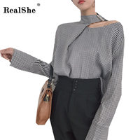 RealShe Women Shirt Long Sleeve Plaid Shirts Sexy Off Shoulde Shirt Elegant Tunic Women Tops Shirts