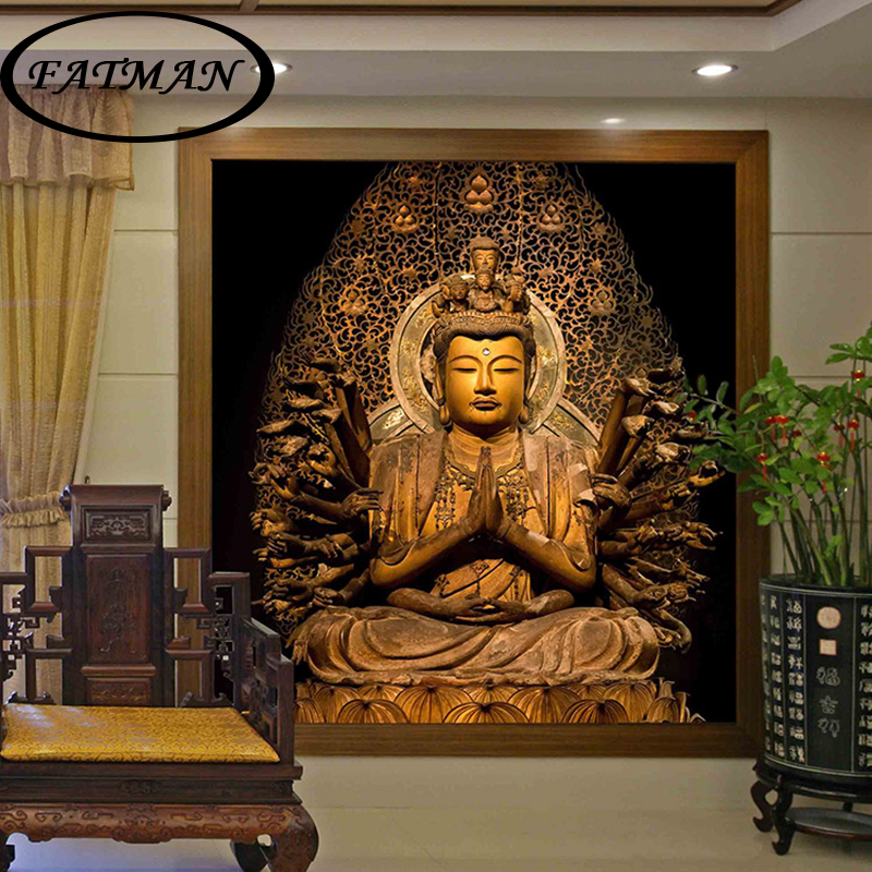 Buy custom photo wallpaper golden buddha for Custom mural wallpaper