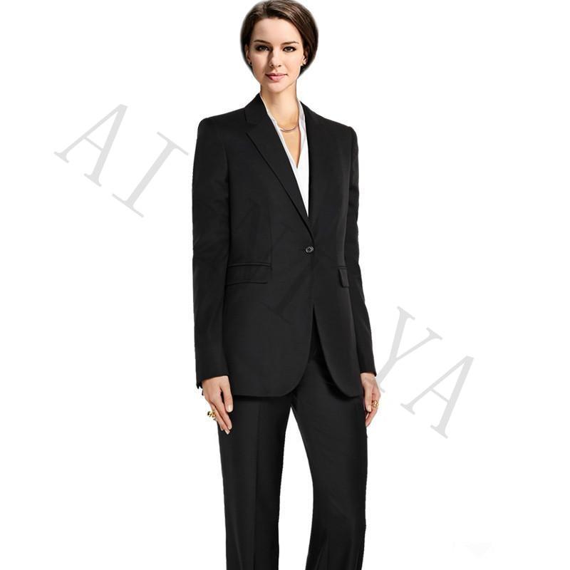 .Pants suit Womens Business Suits Black Single Breasted Female Office Uniform Formal Slim Ladies Trouser Suit Women Tuxedo Suit