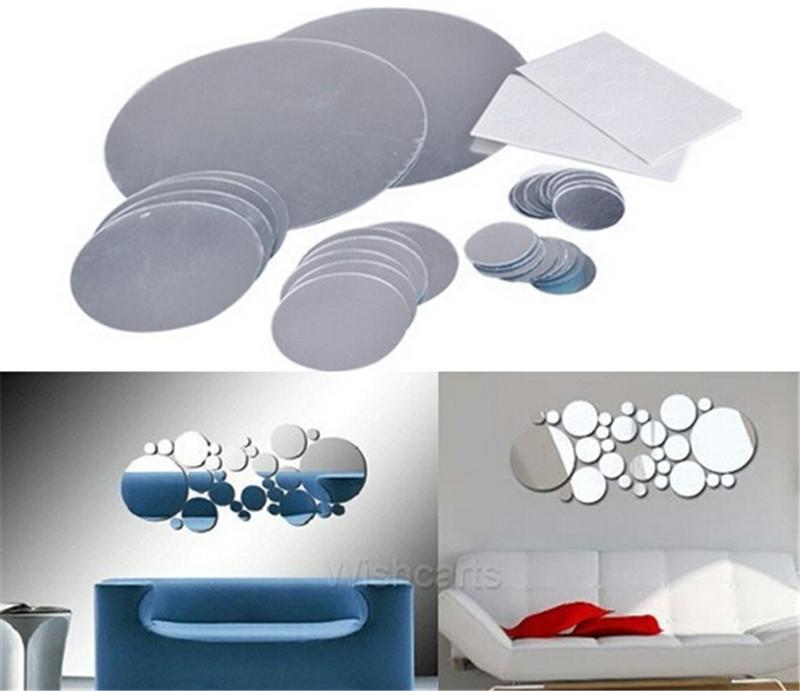 venta caliente creativo fashiond etiqueta redonda moderna espejo de cristal pegatinas de pared de la decoracin