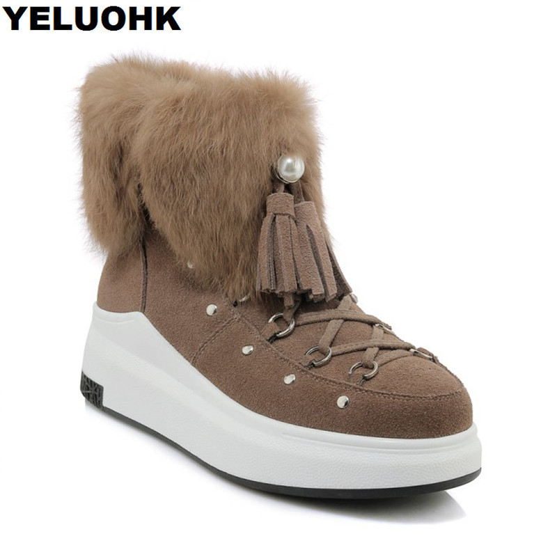Pearl Fringe Winter Boots Women Shoes Cow Suede Ankle Boots Women High Heels Warm Plush Snow Boots Female Platform Shoes