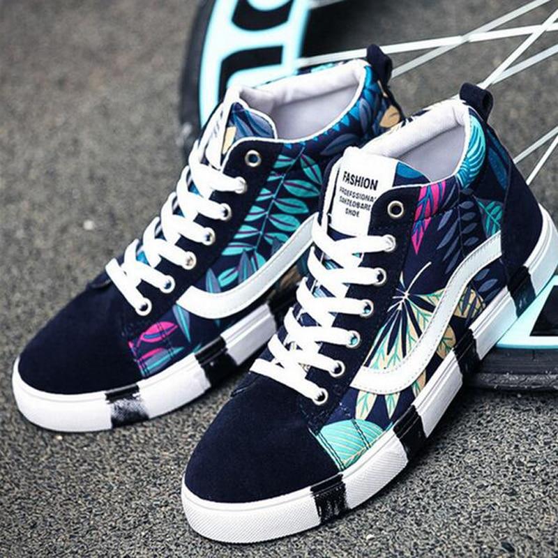 Prix pour Hommes Planche À Roulettes Chaussures sport sneakers toile amant de Sport de marche En Plein Air chaussures Haute Top Respirant Classiques impression bottes