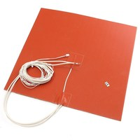1 Pcs Orange 30X30CM 750W 220V Silicone Heater Bed Pad Thermistor For 3D Printer