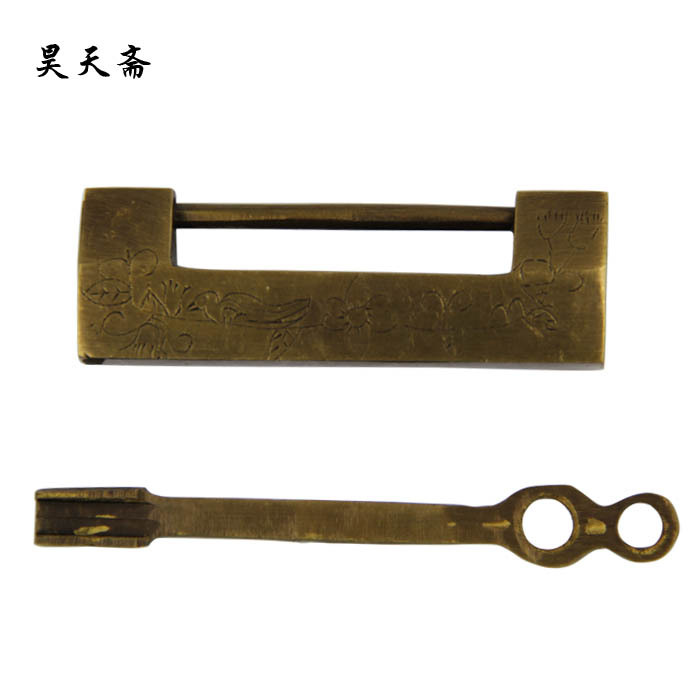 [Haotian vegetarian] Chinese antique brass lock wooden door carved classical copper padlock brass lock [haotian vegetarian] antique copper lock bronze chinese antique brass lock bamboo tongsuo hth 1333