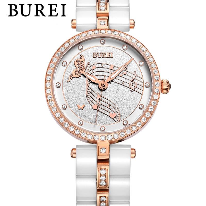 Hot brand BUREI ladies Casual watch Women Watch Diamonds Ceramic Bracelet Quartz Wristwatch female Crystals Business clock hours burei imported movement casual women quartz watch