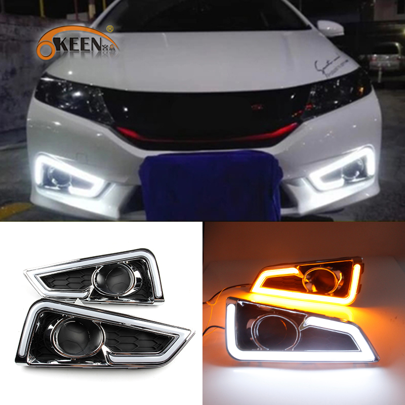OKEEN 2pcs Daytime Running Light for Honda GRACE CITY 2014 2015 2016 DRL White Driving Lamp Amber Turn Signal Light Fog Lamp 12V okeen 2pcs high quality led drl for ford raptor f150 2010 2011 2012 2013 2014 daytime running lights with turn signal lamp 12v
