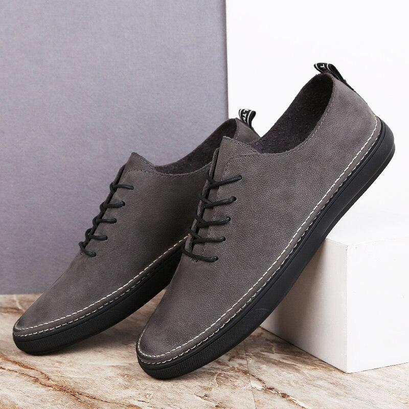 Plus Lace De Confortable Homme Cuir Appartements Occasionnels Marche Luxe La Taille Véritable Mode Black Automne Sneakers Qualité Hommes Up Chaussures gray 0avnSxn