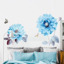 Nordic Beautiful Blue Flowers Wall Stickers for Living Room Bedroom Butterfly Wall Decals Home Decoration Background Murals PVC(China)