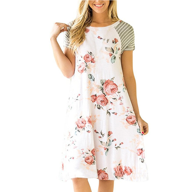 Striped Short Sleeve Print Pink Floral Flower Beach Casual Dress Women Summer Dresses 2017 Sexy Boho Bohemian A-Line Dress White