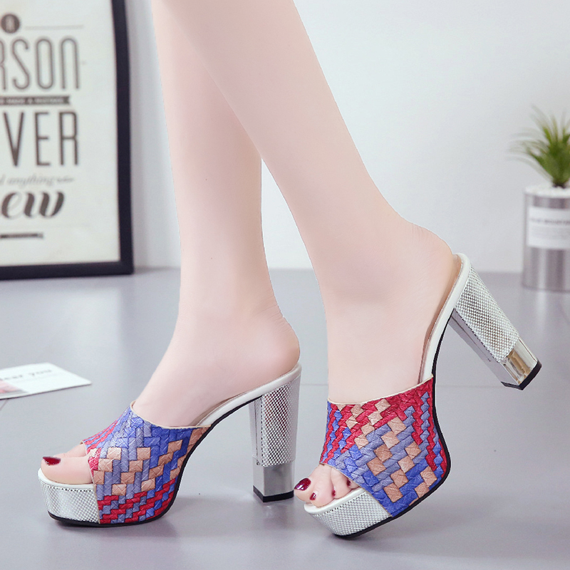 Lucyever 2019 New Women Summer Slippers Fashion Sexy Super Square High Heels Peep Toe Party Shoes Woman Platform Sandals
