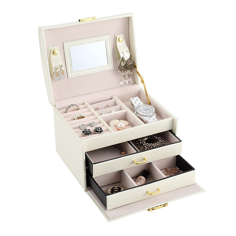 PU Leather Multi layer Jewelry Box Drawer Girls Earrings Necklace