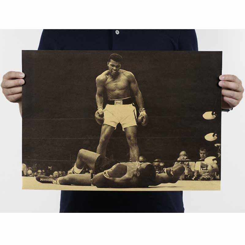 """Muhammad Ali"" Vintage Poster Retro Kraft Paper Posters Bar Cafe Interior Decoration Painting movie poster 51x35.5cm"