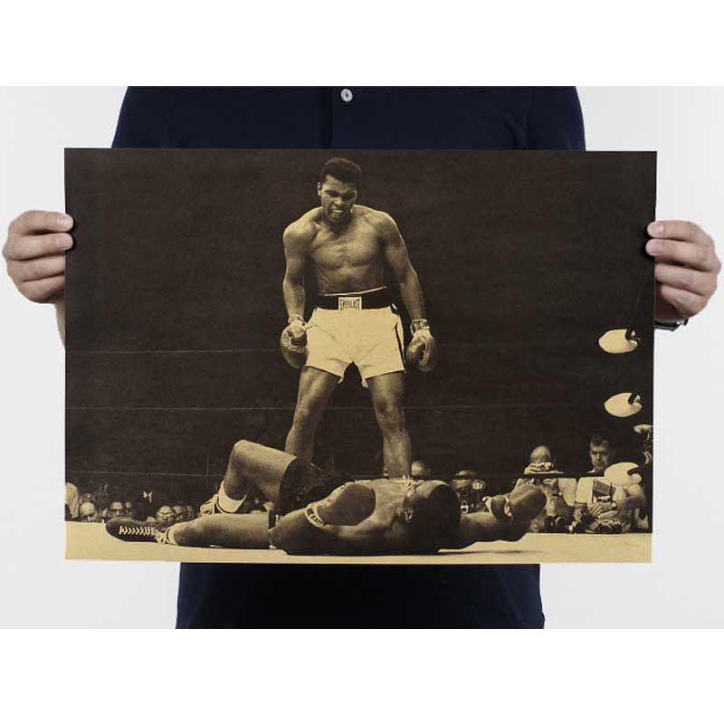 """muhammad Ali"" Vintage Poster Retro Kraft Papier Poster Bar Cafe Innen Dekoration Malerei Movie Poster 51x35,5 Cm Knitterfestigkeit"