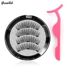Genailish 3D Magnetic eyelashes with 3 magnets handmade natural false eyelashes magnet las