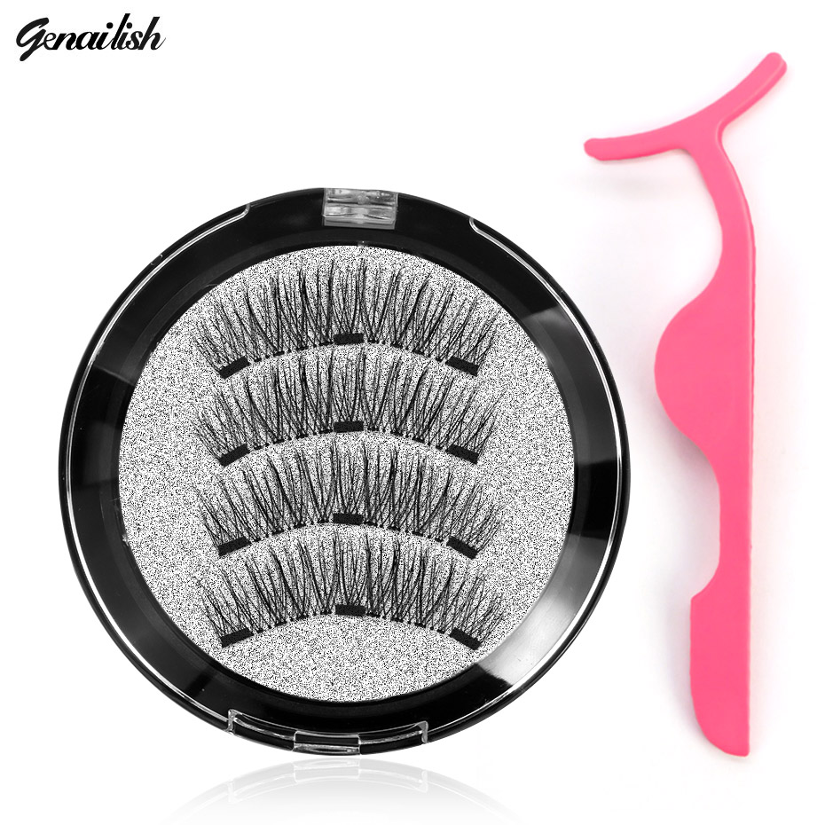 Genailish 3D Magnetic eyelashes with 3 magnets handmade natural false eyelashes magnet lashes with gift makeup wiht tweezers