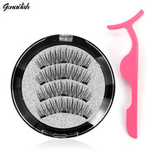 Genailish 3D Magnetic eyelashes with 3 magnets handmade natural false eyelashes magnet lashes with gift makeup wiht tweezers(China)