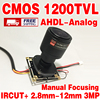 HD Color 1 4cmos Analog 1200TVL IRCUT 2 8mm 12mm 3 0MP LENS Manual Focusing Finished