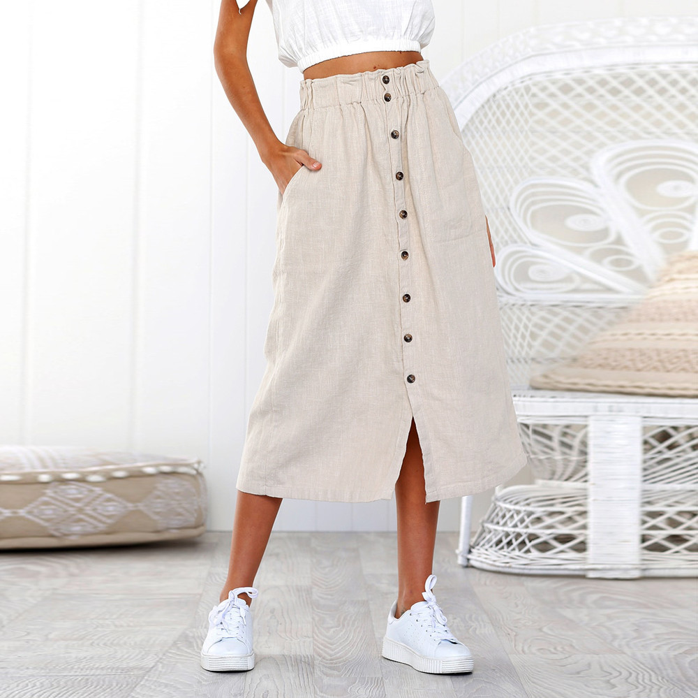 Summer Skirts Womens 2019 New Midi Korean Elegant Button elastic High Waist Skirt Female Pleated Sun ladies School Skirt