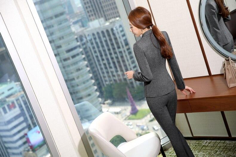 Vestes Dames Pantsuits Gilet Avec Pièces D'affaires Blazers De Grey Costumes Travail Pantalon Formelle Professionnel Ensembles Femelle Des Portent 3 6Eqw5v7