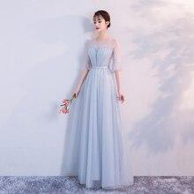 Wedding Party Dress  Blue Gery Bridesmaid Dress  Pleat  Long Floor Length