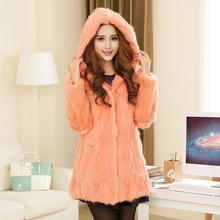 Long-sleeve rabbit fur coat medium-long slim plus size with a hood