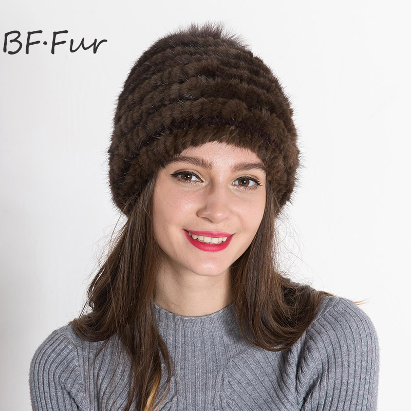 100% Mink Fur Russian Adult Hat For Female Winter Warm Solid Color Bonnet Knitted Cotton Warm Cap Girls Brown Beanies russian real mink fur hat for female animal fur winter warm beanies fashion solid color cap natural color bonnet girls hats