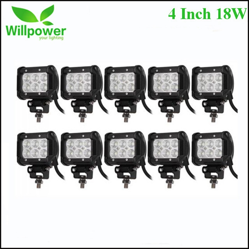 4 pouces 18 w LED Light Bar Spot Flood Offroad Led Travail Lumière 12 v Conduite Lumière Pour Niva Camions voiture Tracteur Bateau Moto 4WD