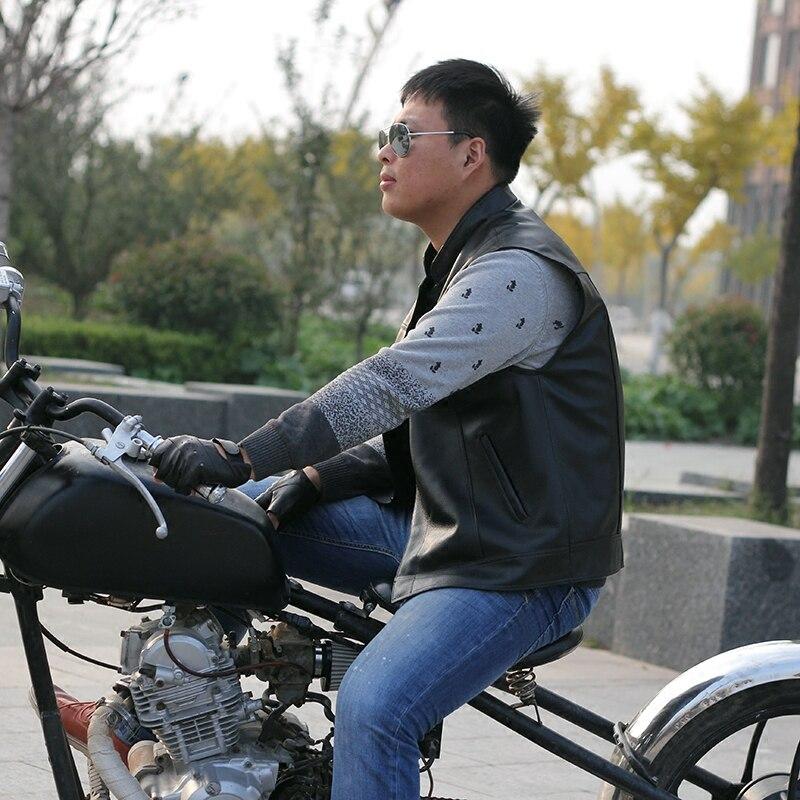 Erkek Kıyafeti'ten Jileler ve Yelekler'de Erkek Motosiklet Hakiki Deri Yelek Inek Deri Biker Binici Kulübü Tek Göğüslü Yelek Kolsuz Ceket Siyah El Yapımı'da  Grup 3