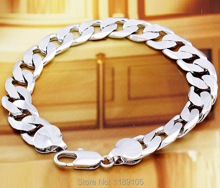 Italian High Quality 18k 18ct Real White Gold Filled Men S Bracelet Solid Curb Chain Gf Jewelry 23cm 1 2cm Hot In Charm Bracelets From