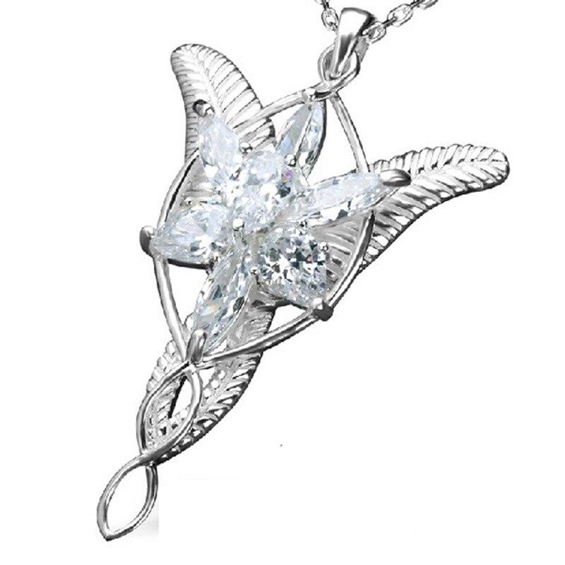 925 Sterling Silver LOTR Arwen Evenstar wisiorek naszyjnik pan Hobbit Elf księżniczka moda kobiety naszyjnik biżuteria prezent dla fanów w Naszyjnik z wisiorkiem od Biżuteria i akcesoria na  Grupa 1