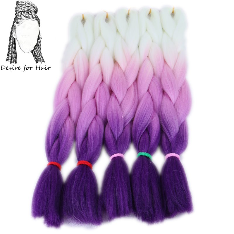Desire for hair 10packs per lot 24inch 100g synthetic braiding hair jumbo braids 3 tone omber