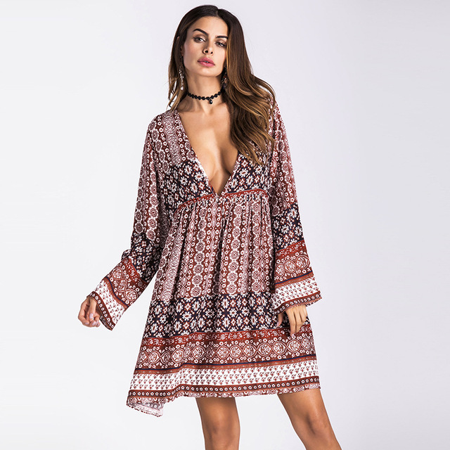 72834905d89 Boho Dress Women Autumn Long Sleeve Loose Mini Dress Female Holiday Print  Backless Sexy Dresses V