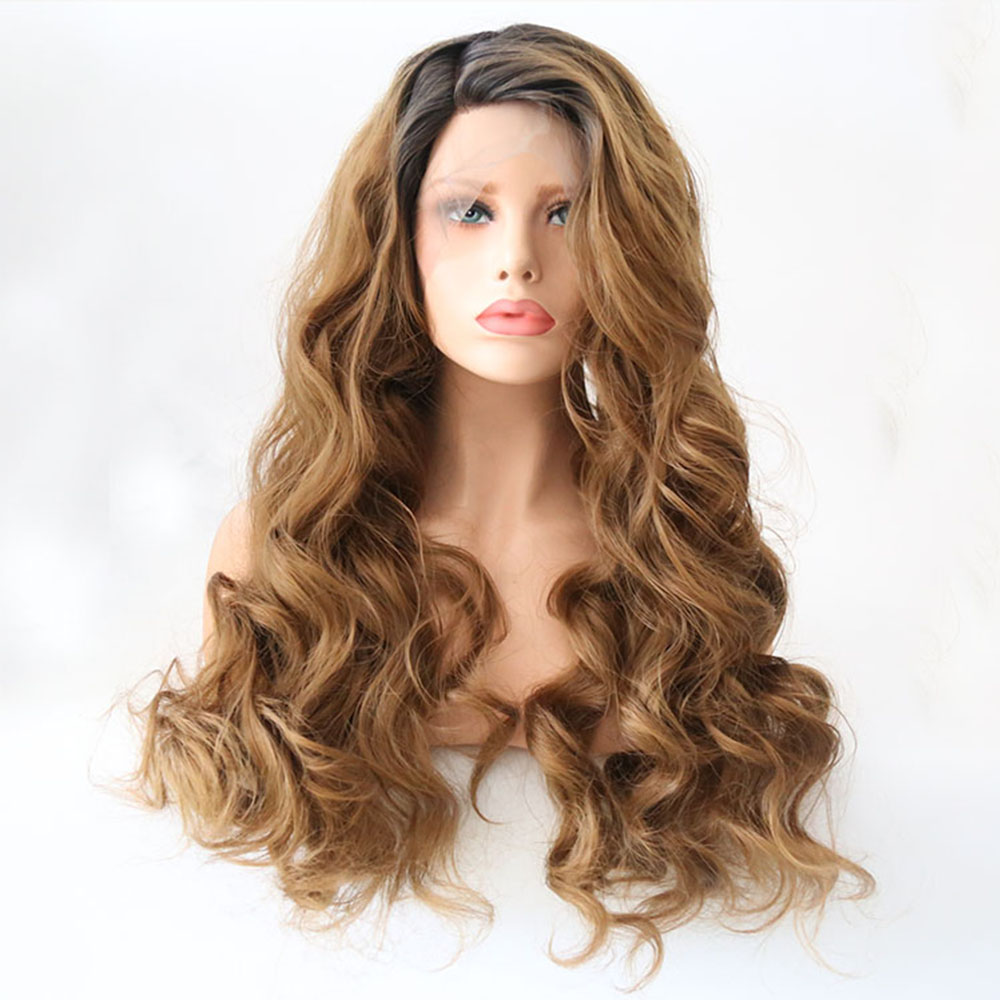 Charisma Long Ombre Hair Color With Dark Roots Synthetic Lace Front Wigs Half Hand Tied Replacement