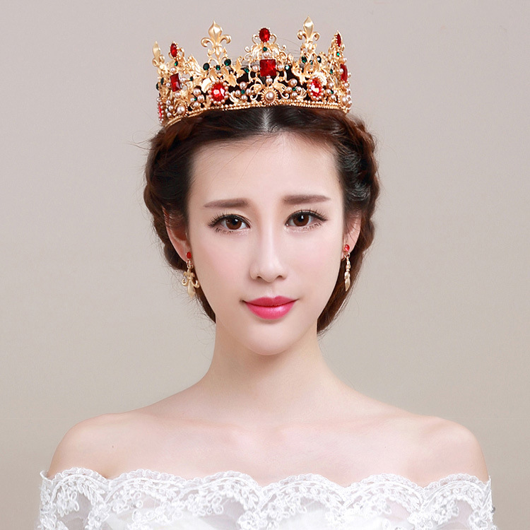 Golden crown pearl hair ornaments Baroque bride headdress Retro Red Rhinestone tiara